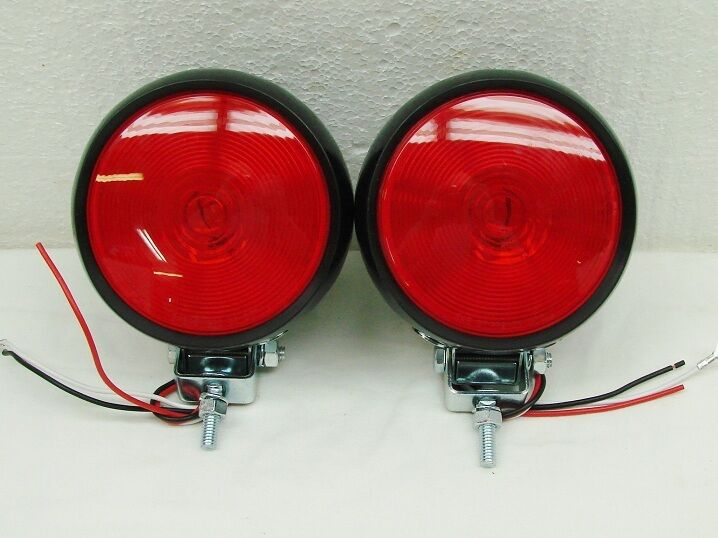 Tractor Fender Light : Quot hd round red rubber tractor fender trailer tail lights