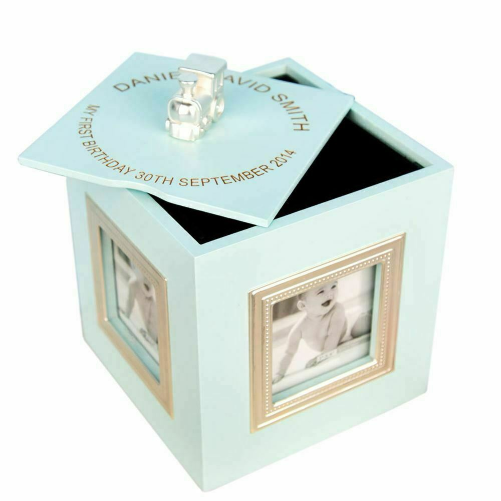 Personalised Boy's First Birthday Musical Photo Cube Box