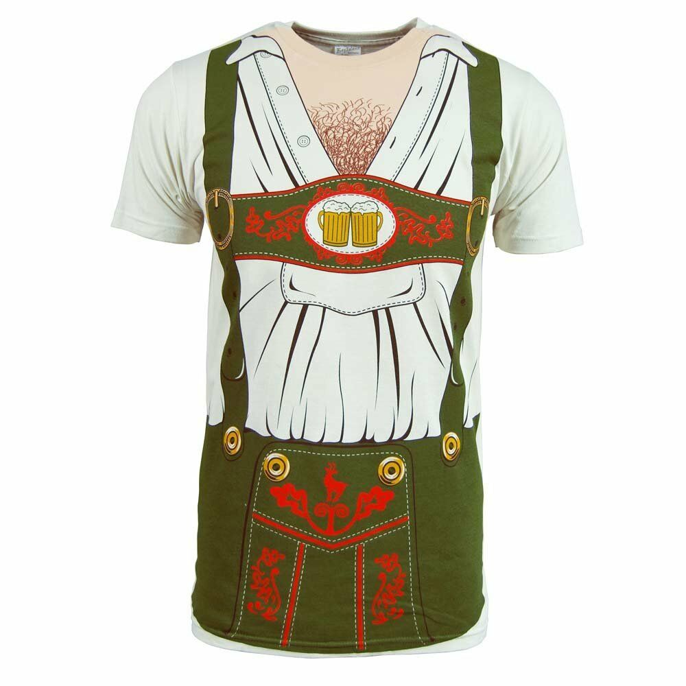 Mens oktoberfest lederhosen costume t shirt new white beer for Costume t shirts online