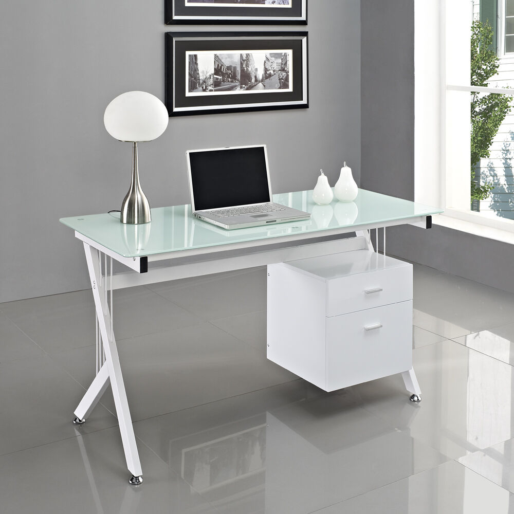 Computer desk pc table home office black white glass for Home office workstation desk