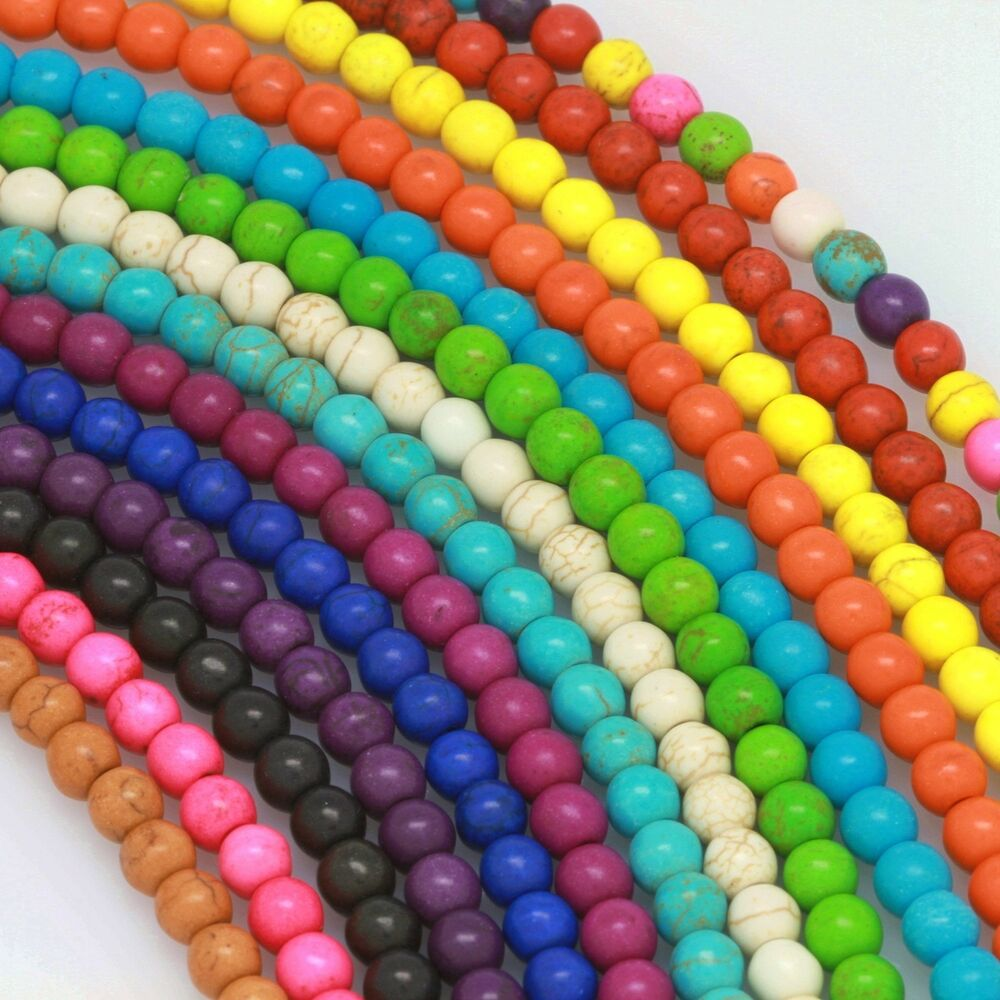"""16"""" Howlite Turquoise Loose Beads Round 4mm 6mm 8mm 10mm"""