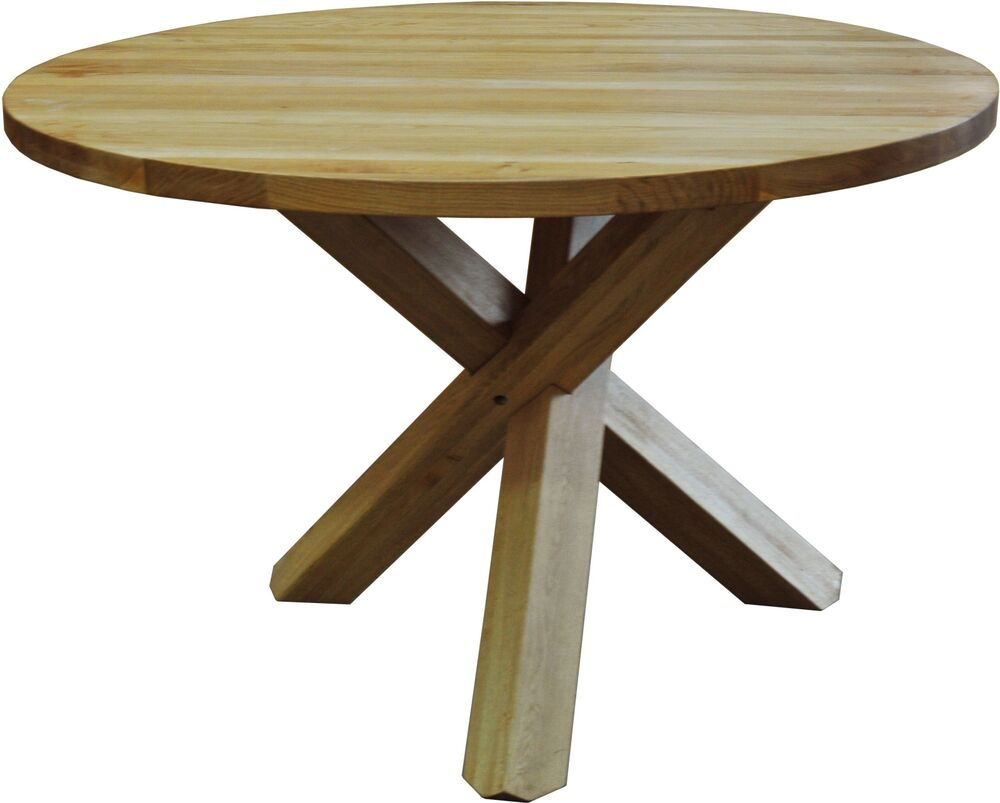 Drake solid oak dining room furniture round circular for Oak dining room table