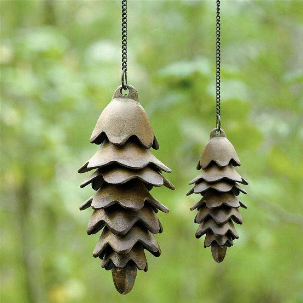 Rustic Pinecone Wind Chime Pair Cast Iron Pine Cone Windchime