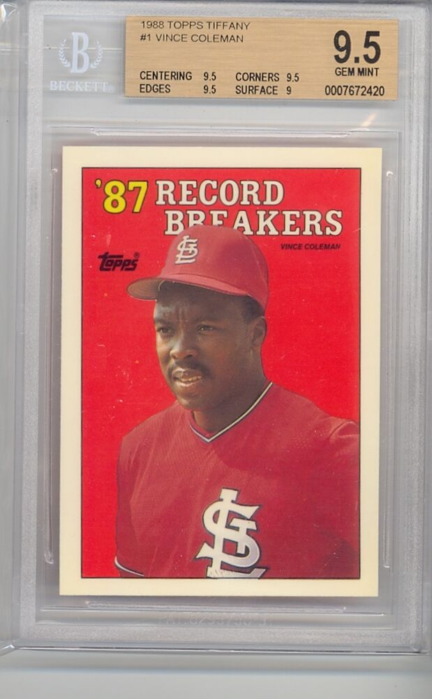 1988 Topps Tiffany 87 Record Breakers Vince Coleman 1
