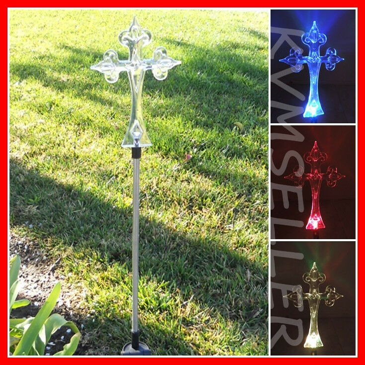 1 Piece Solar Powered Cross Garden Yard Stake Pathway Lawn
