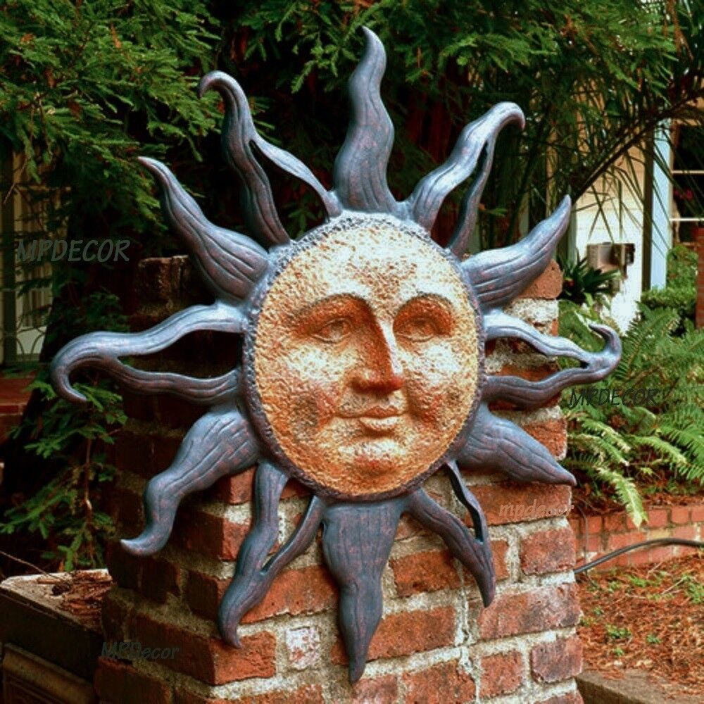 Large rising sun face celestial garden wall plaque decor for Outdoor garden wall decor