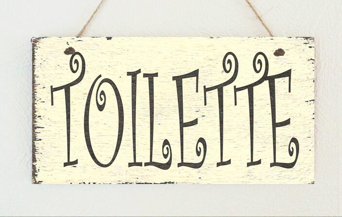 hand made french shabby toilette hanging sign plaque distressed toilet chic ebay. Black Bedroom Furniture Sets. Home Design Ideas