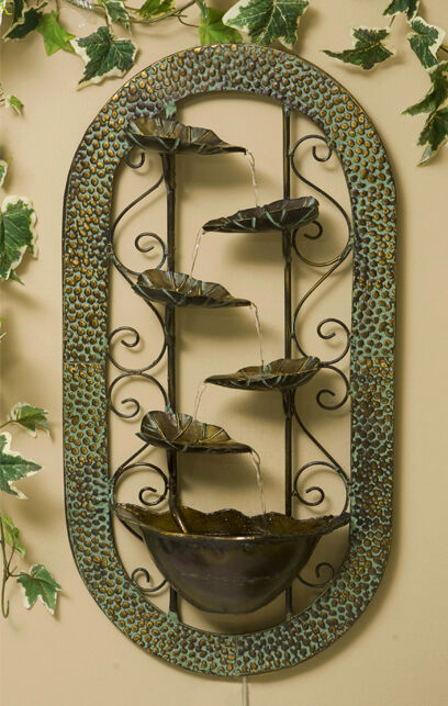 Wall mounted leaf bowl water feature fountain cascade - Wall mounted water feature ...