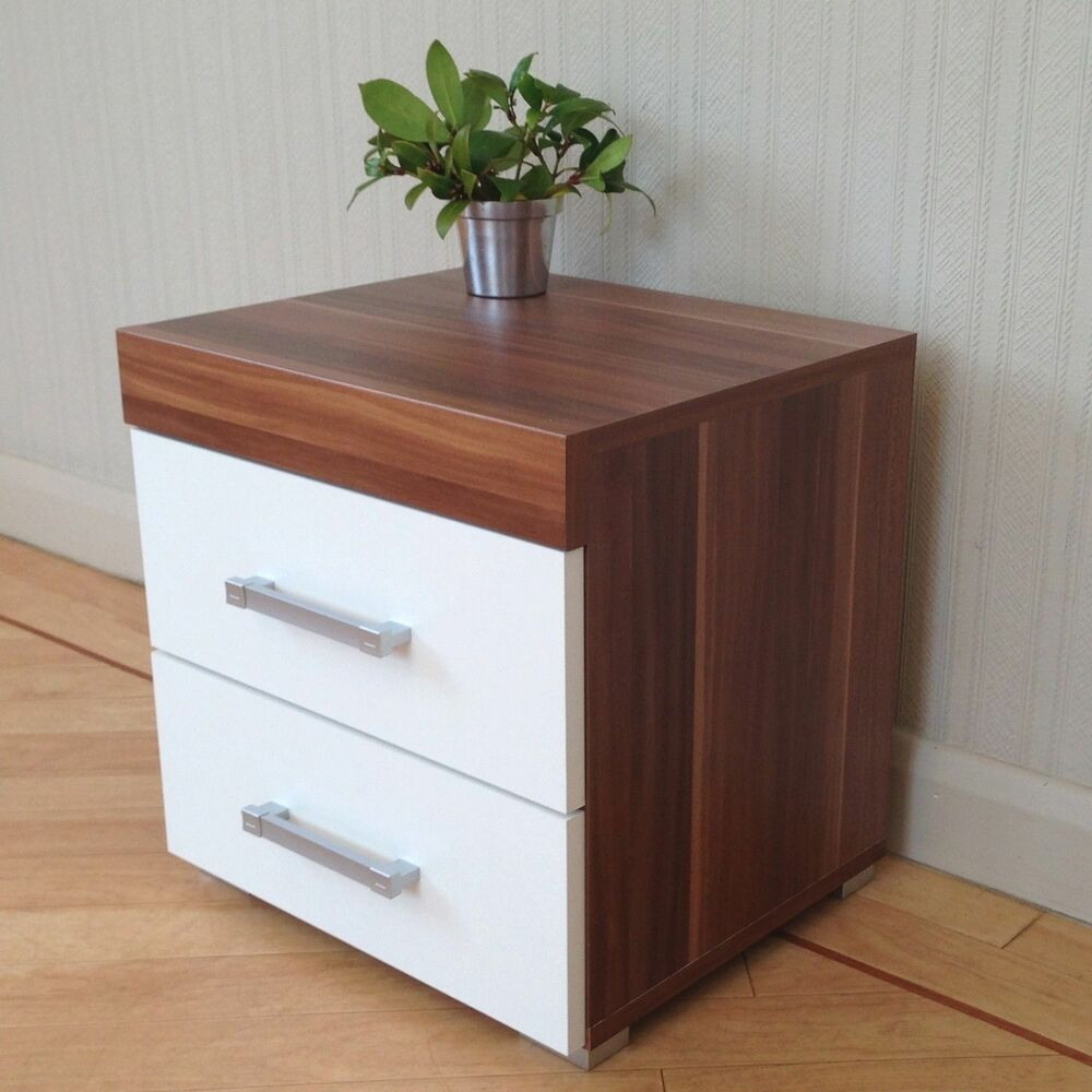 2 drawer white walnut bedside cabinet table bedroom for Bedroom table