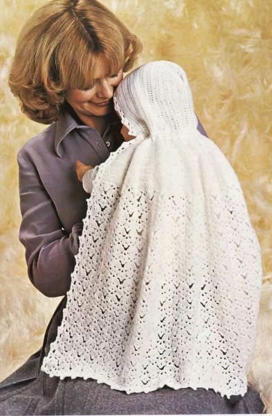 Free Knitting Pattern Baby Hooded Cape : Crochet Pattern Baby Christening Hooded Shawl Cape eBay