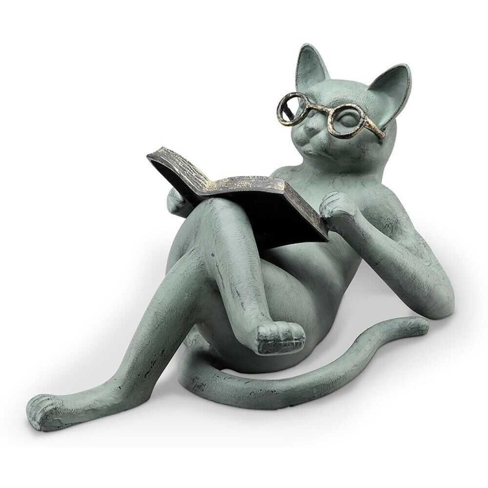Book lover reading literary cat whimsical kitten feline for Whimsical garden statues