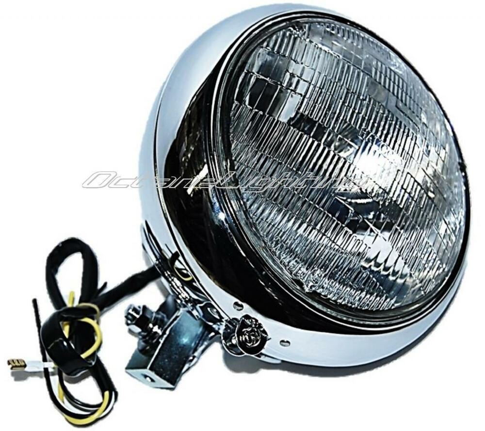 Scooter Headlight Assembly : Quot motorcycle halogen headlight housing headlamp bulb
