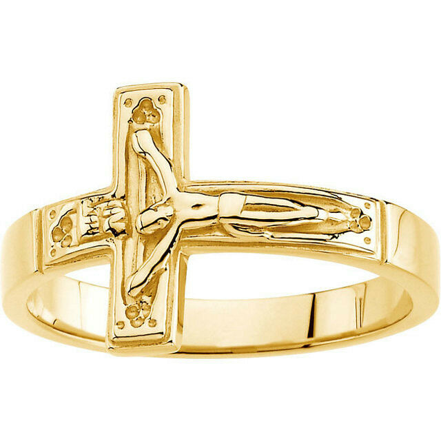 mens religious jewelry 15 0mm size 9 mens crucifix ring 10k yellow gold new item 6781