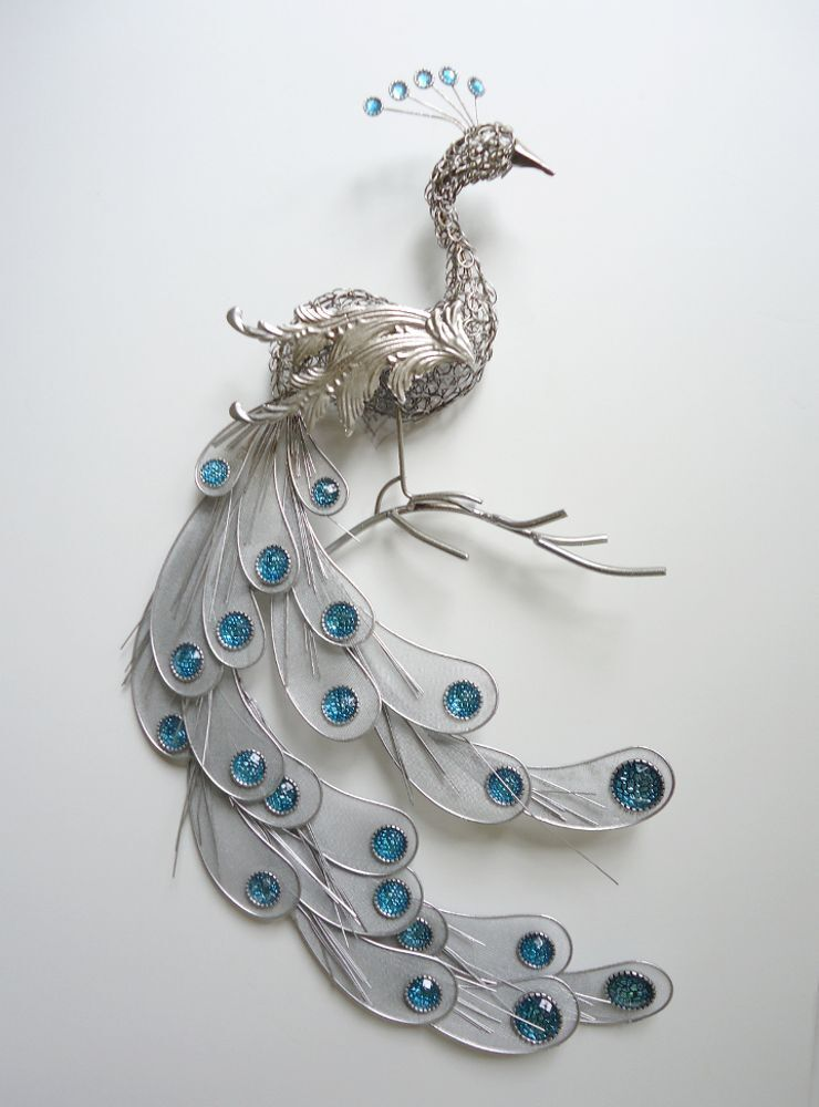 Fanciful silver peacock wall art decor metal hanging bird for Peacock wall art