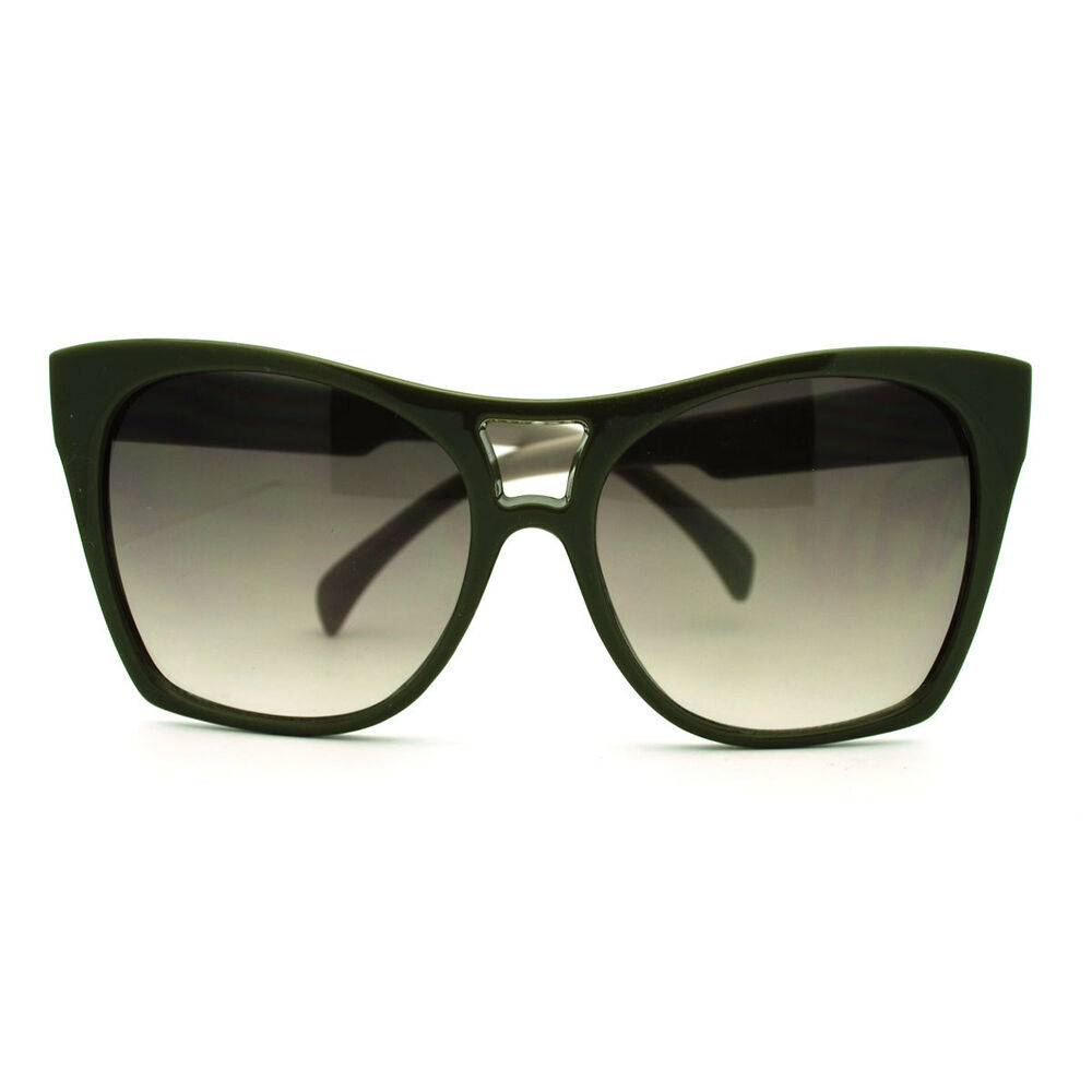 Trendy Large Coverage Oversized Cat Eye Sunglasses Green