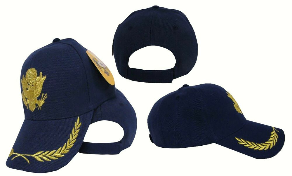 army solid gold embroidered navy blue color baseball hat