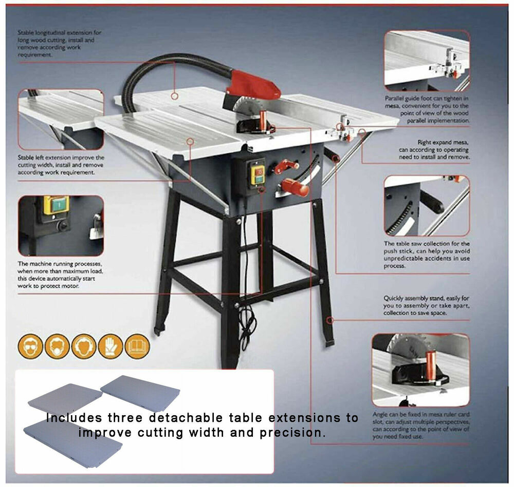 Brand New Table Saw With Powerful 1800w Motor 10 Blade With 3 Extensions Ebay