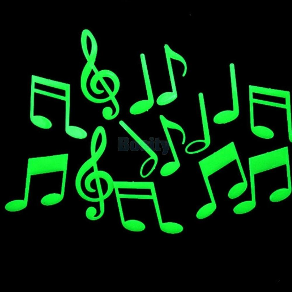 14pcs Glow In The Dark Musical Note Symbol Stickers Kids