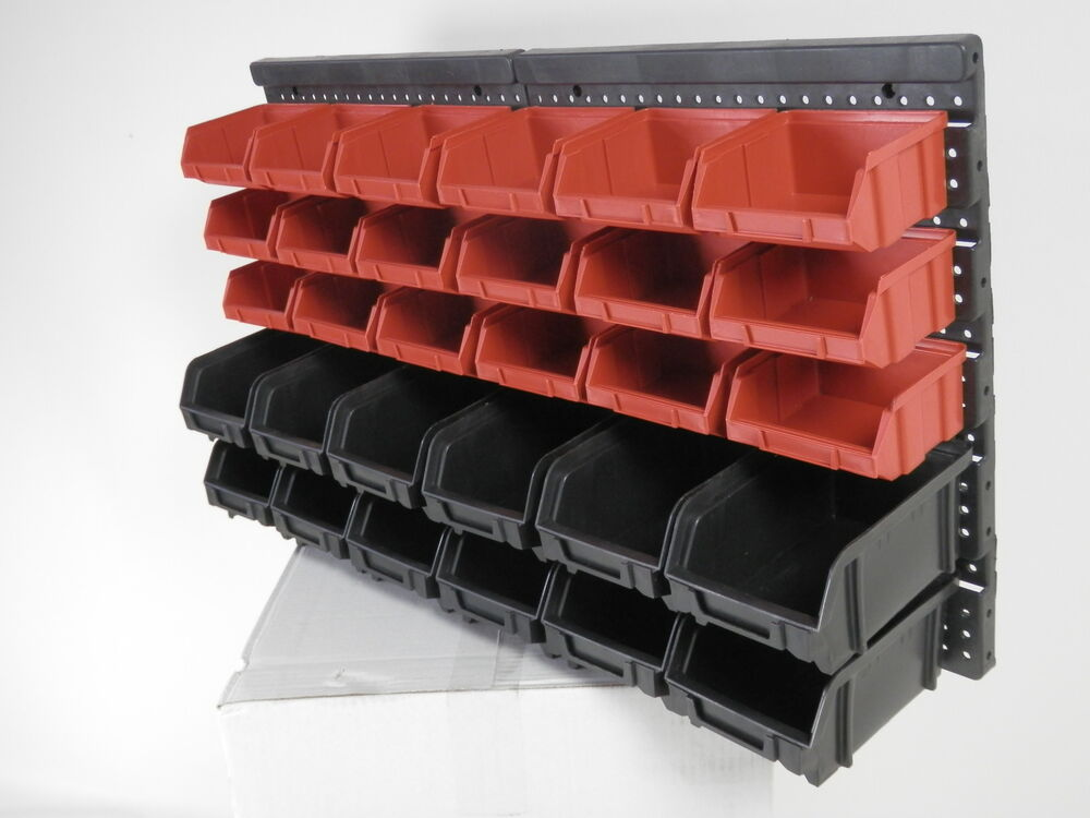 30pc Plastic Wall Workshop Garage Mounted Storage Bins