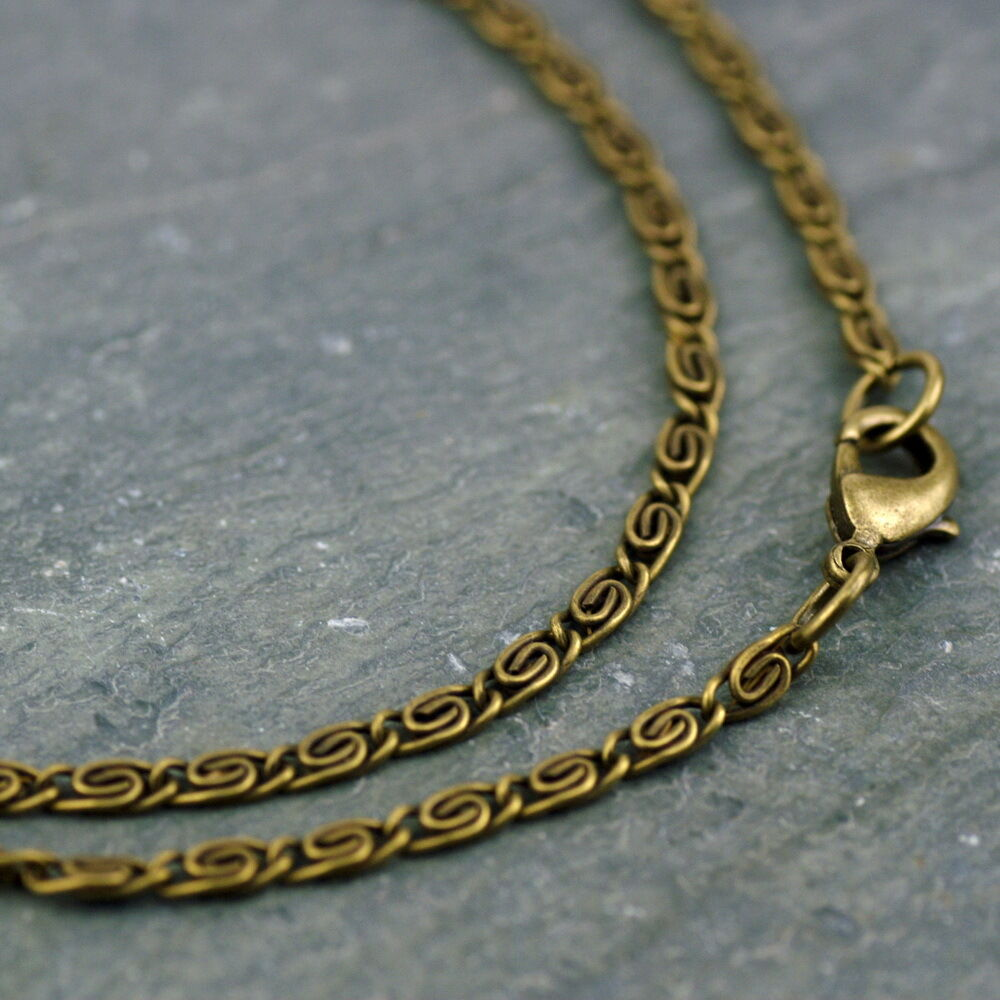 fancy link chain antique bronze necklace knurled coil