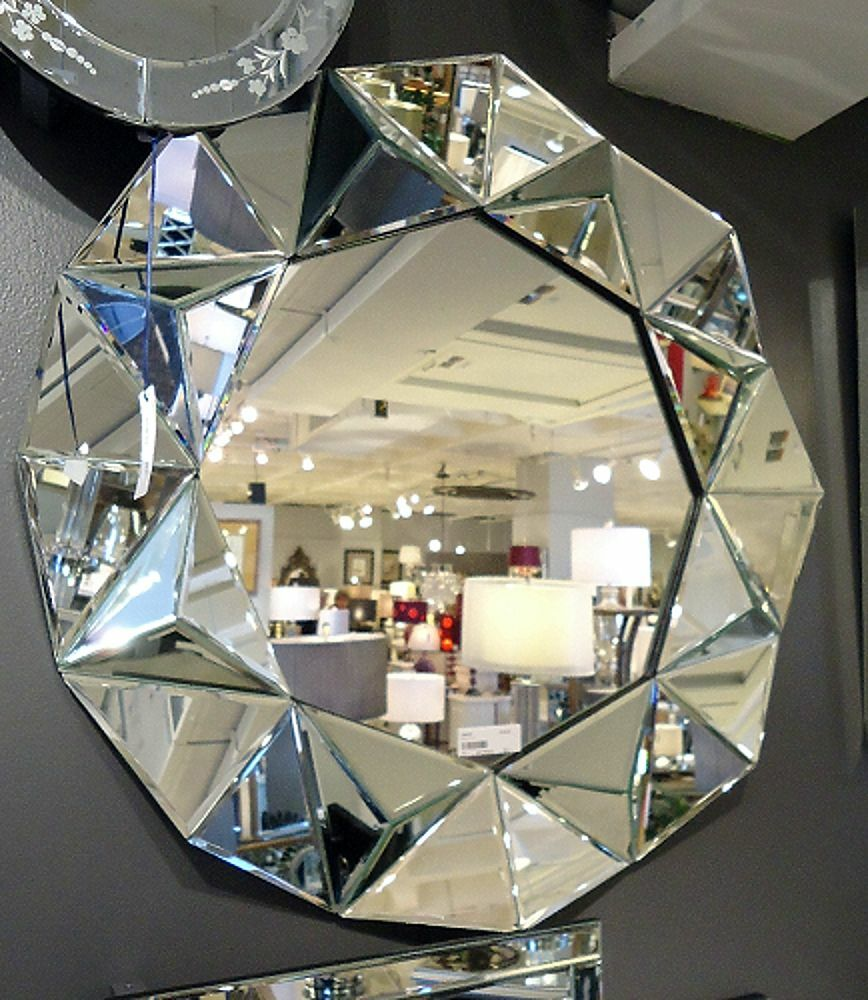 Modern Faceted Wall Mirror Contemporary Schaefer Hollywood Regency Decor 32 748119022413