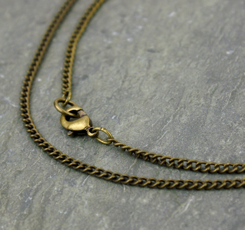 antique bronze plated curb link chain necklace twist link
