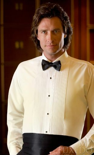 Mens ivory laydown tuxedo shirt all sizes used from rental for Mens ivory dress shirt wedding