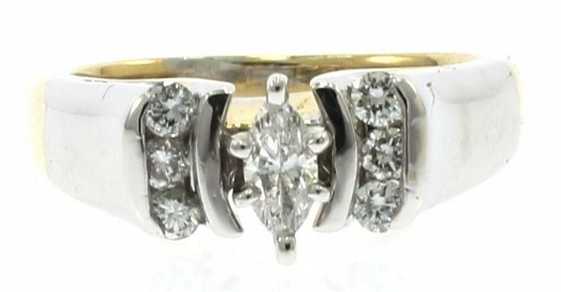 Unique Marquise Diamond Engagement Ring in 14kt White and Yellow Gold