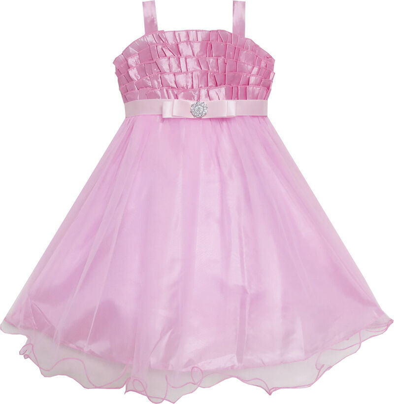 Flower girl dress pink tull tutu dance pageant kids boutique size 3 6