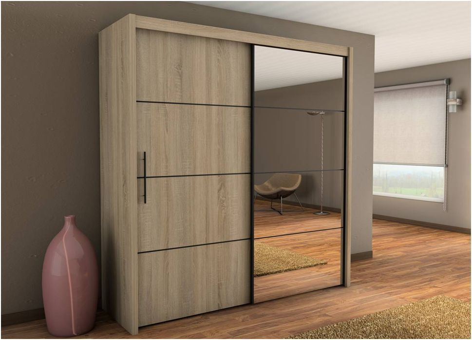 Inova Sliding Door Wardrobe Cupboard Oak Effect Furniture 200cm Width Bedroom