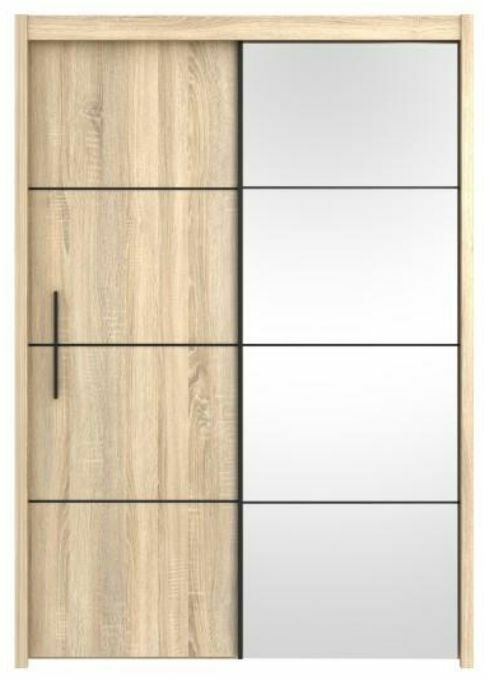 Inova Sliding Door Wardrobe Cupboard Oak Effect Furniture 150cm Width Bedroom