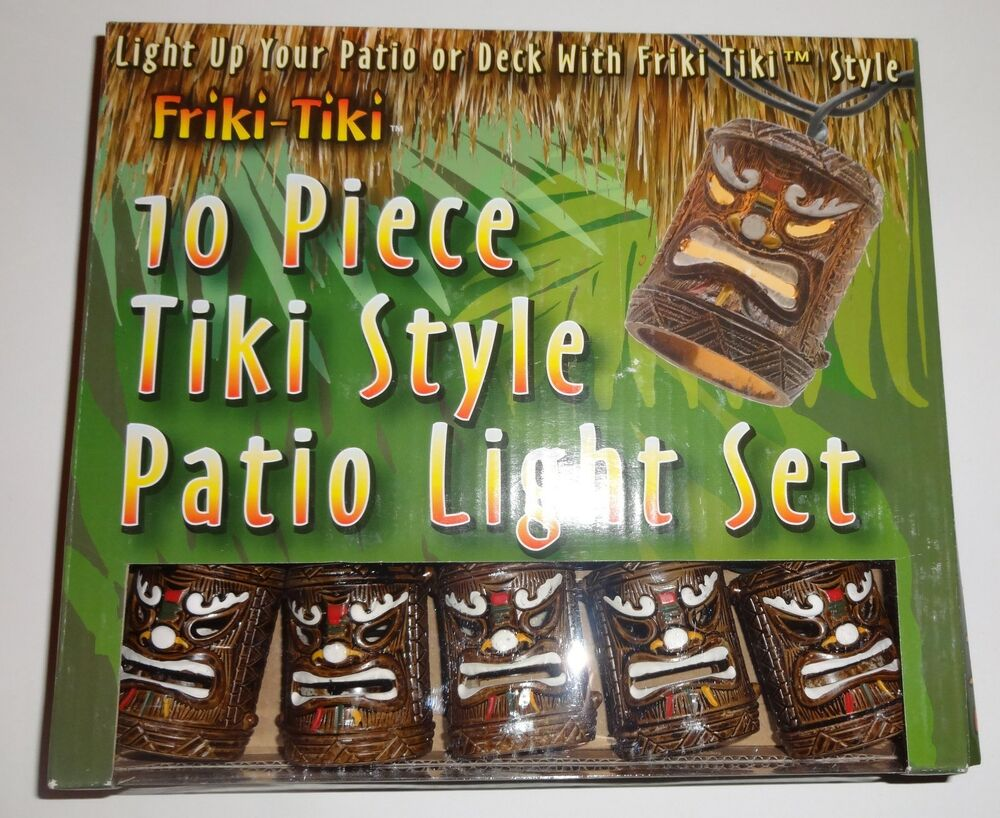 friki tiki 10 piece tiki style patio deck string light set ebay
