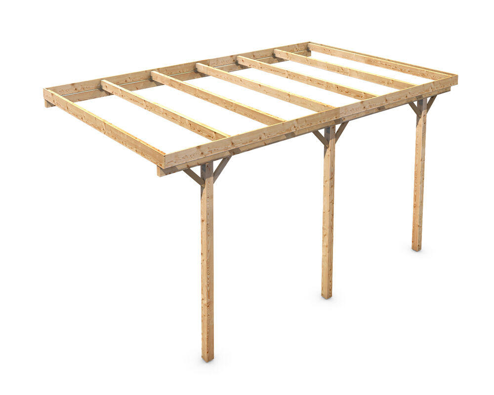Wall mounting solid wood carport flat roof kvh 3000x5000mm for Progetto gazebo in legno pdf