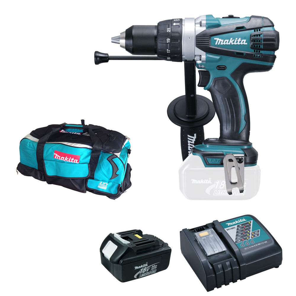 Makita 18v bhp458 combi drill bl1830 battery dc18rc - Batterie makita 18v ...