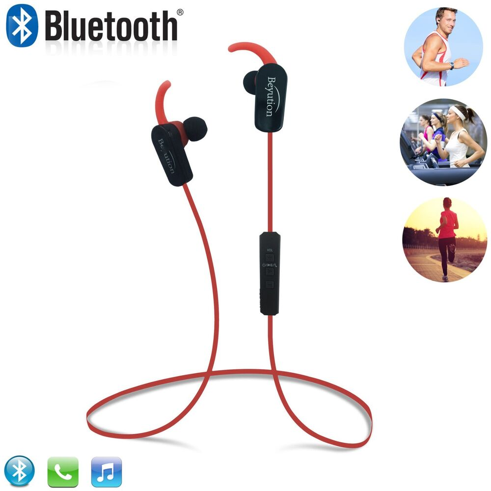 new red wireless stereo bluetooth headphones f mobile cell phone laptop tablet ebay. Black Bedroom Furniture Sets. Home Design Ideas