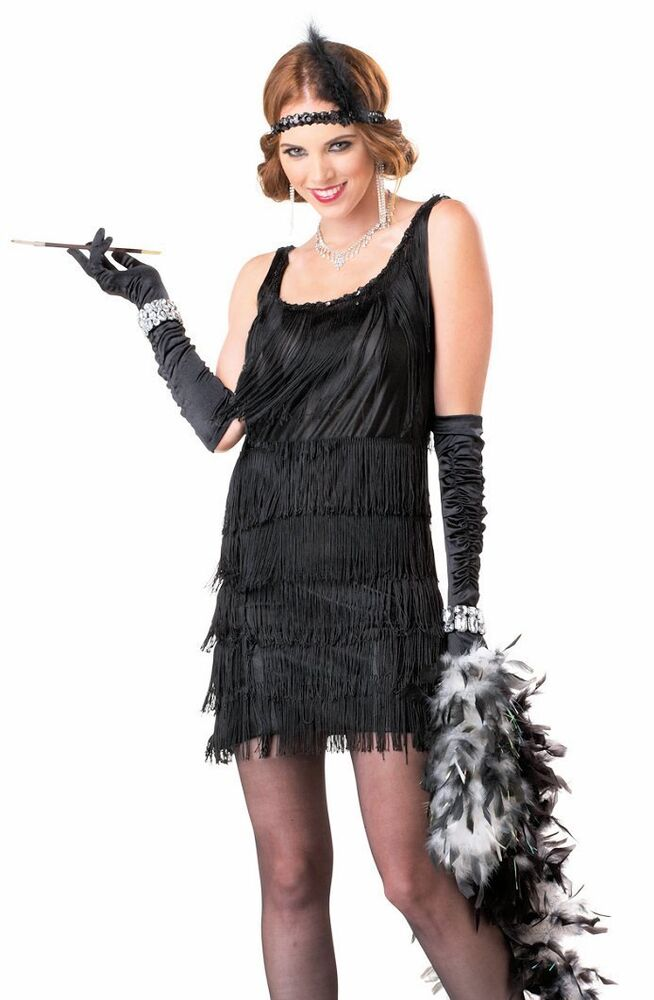 1920 S Fashionable Flapper Black Fancy Dress Women S