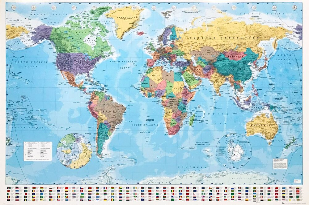 World Map Poster Giant Size 1m X 1 4m With Country Flags New
