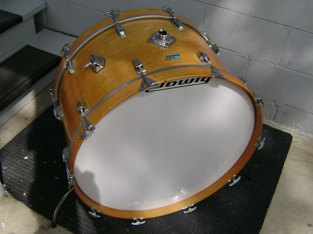 vintage ludwig 26 bass drum in thermo gloss natural ebay. Black Bedroom Furniture Sets. Home Design Ideas