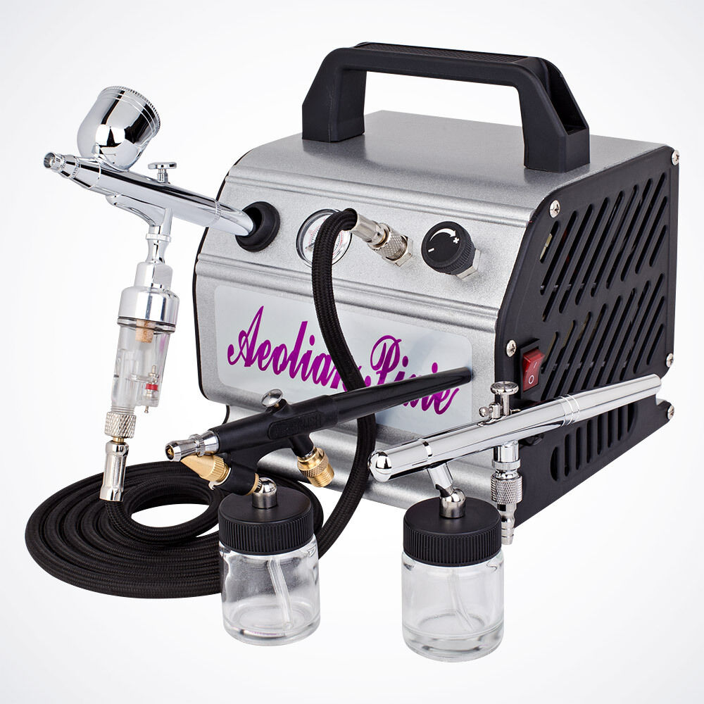New 3 airbrush kit air compressor dual action spray paint guns new 3 airbrush kit air compressor dual action spray paint guns tattoo nail art ebay prinsesfo Choice Image