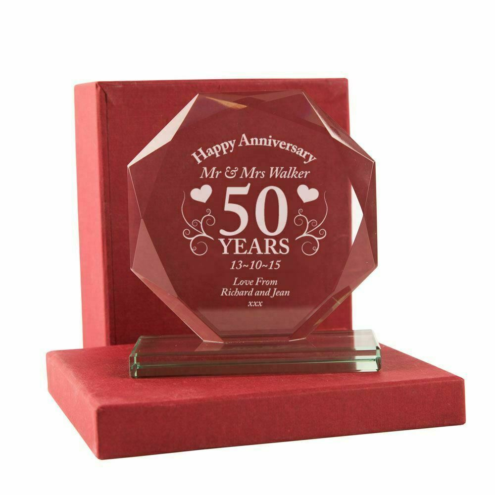Wedding Gift Engraved Message : Engraved 50th Gold Wedding Anniversary Cut Glass Frame Plaque Gift ...