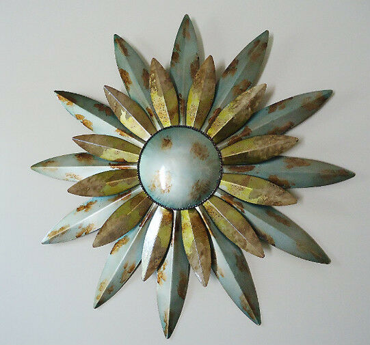 Aqua sunburst sun metal wall art decor celestial indoor for Outdoor metal wall art