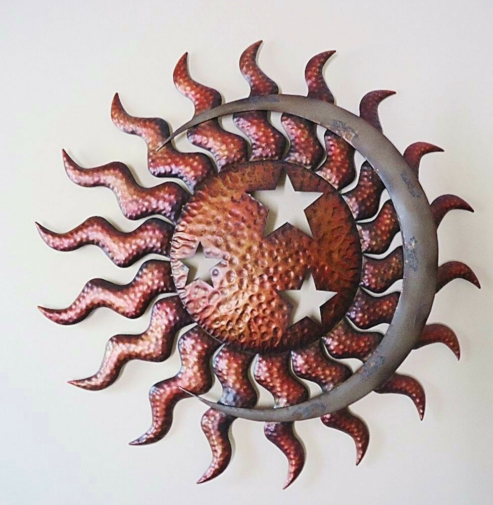 Celestial sun moon stars wall art large metal indoor for Outdoor garden wall decor
