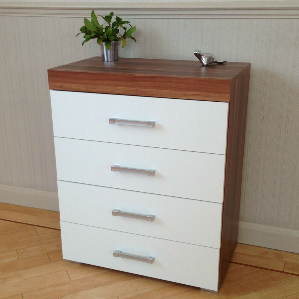 Chest of 4 drawers in white walnut bedroom furniture modern brand new ebay for White bedroom chest of drawers