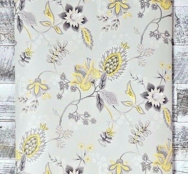 traditional dove gray and yellow contemporary jacobean modern paisley wallpaper ebay. Black Bedroom Furniture Sets. Home Design Ideas