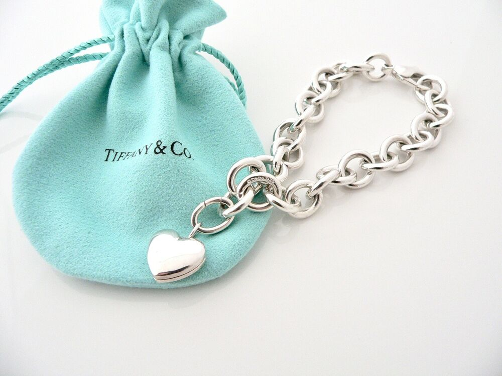 Tiffany Heart Bracelet >> Tiffany & Co Silver Heart Locket Bracelet Bangle Chain ...