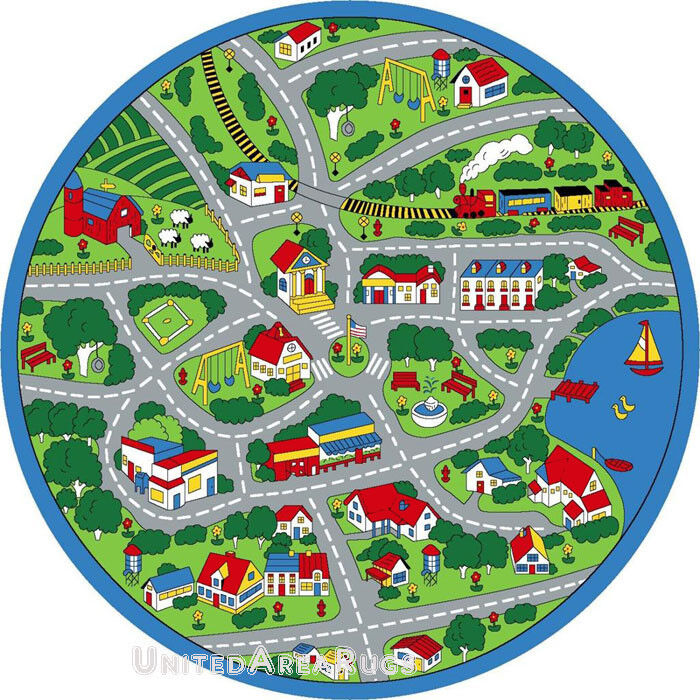8x8 round rug play road driving time street car kids city for Round rugs for kids