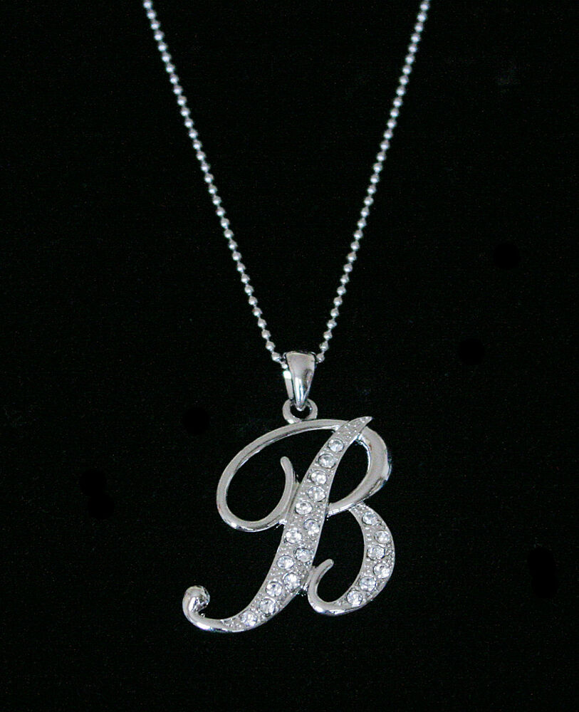 "Alphabet Jewelry: ""B"" LETTER INITIAL ALPHABET PENDANT CHARM NECKLACE CLEAR CRYSTALS LARGE SILVER T"