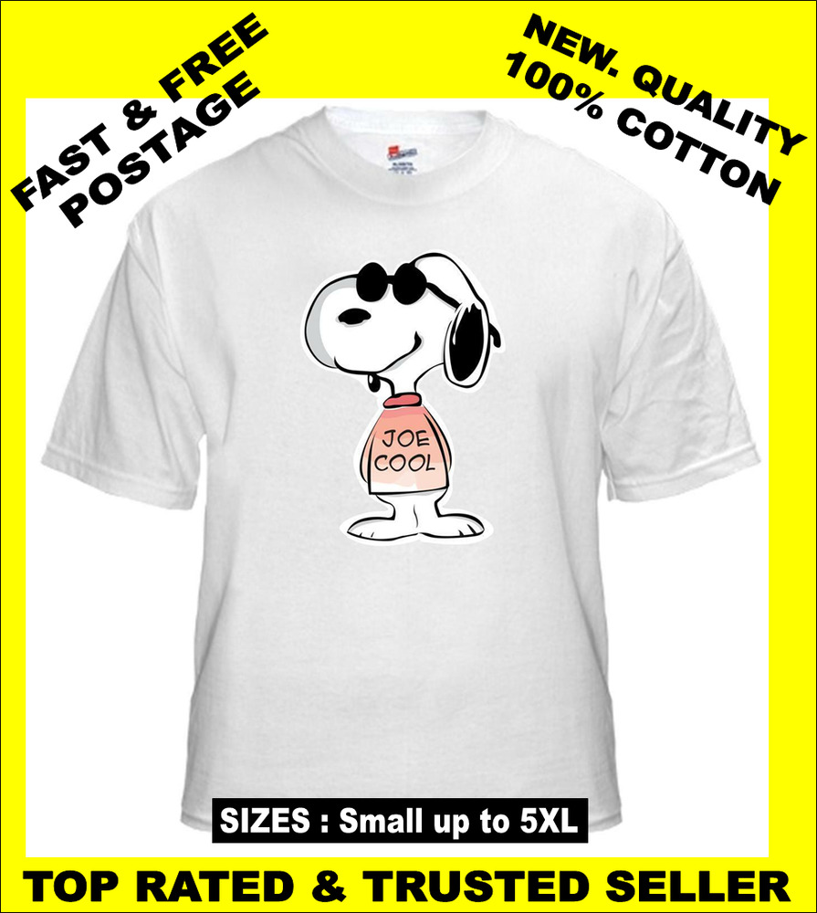 tee shirt new unisex featuring snoopy joe cool on quality cotton t. Black Bedroom Furniture Sets. Home Design Ideas