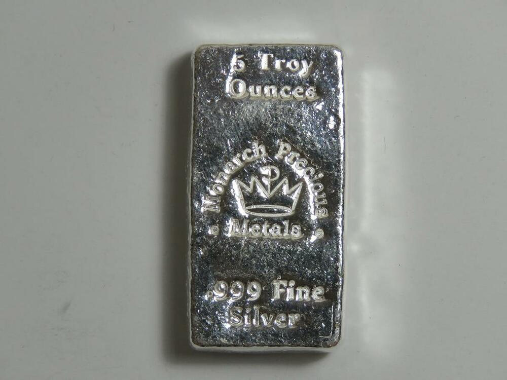 Five Troy Ounce Silver Poured Ingot Bar Monarch Precious