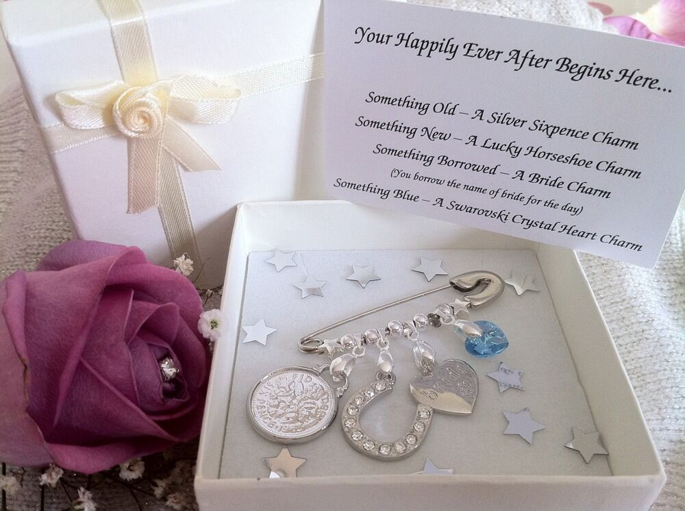 Unconventional Wedding Gifts: Bridal Charm Pin Something Old, New, Borrowed And Blue